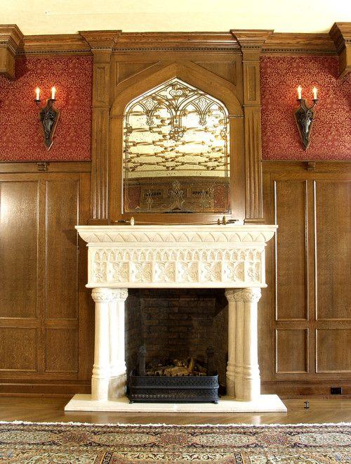 Verkleidung, Traditionelle Wohnzimmer, Kamin Umgibt, Periode, Kaminsimse,  Bogen, Kamine, Jugendstil, Gotisch