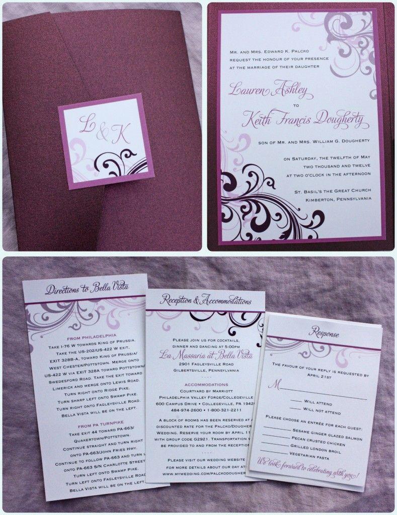 Eggplant Merlot Sangria Lavender Purples Blush Pink Swirl Pocketfold Wedding Invitations