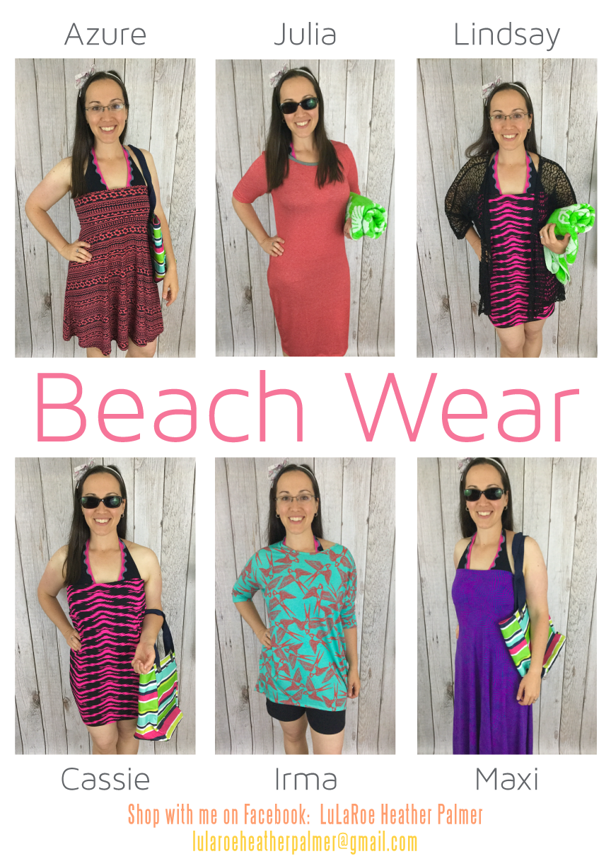 2fd8846822318 LuLaRoe swimsuit cover up ideas! Heading to the beach or pool ! Your  favorite LuLaRoe pieces work all year round. Size up in Julia and Irma for  a great ...