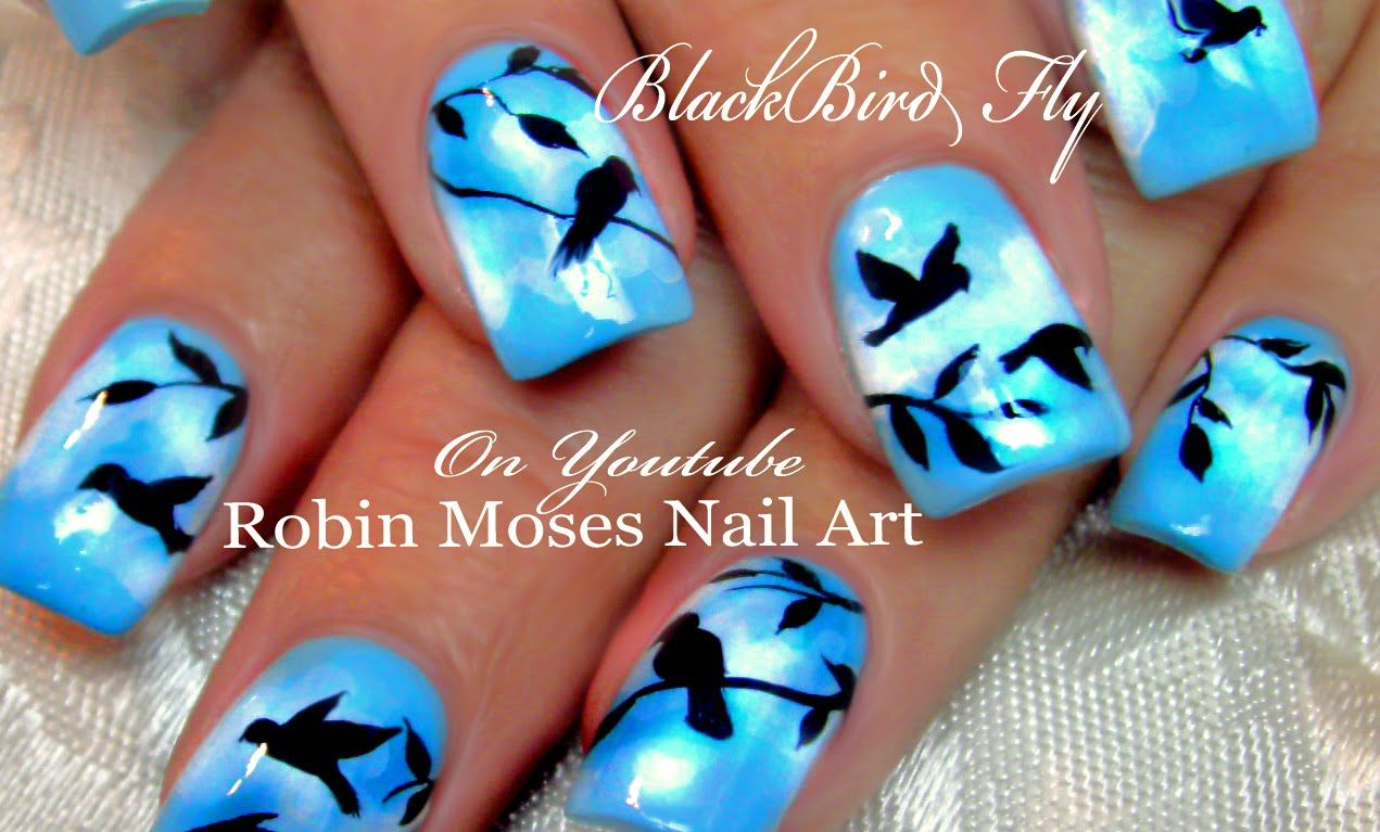 DIY Flying Black Bird Nails | Birds Nail Art Design Tutorial - DIY Flying Black Bird Nails Birds Nail Art Design Tutorial