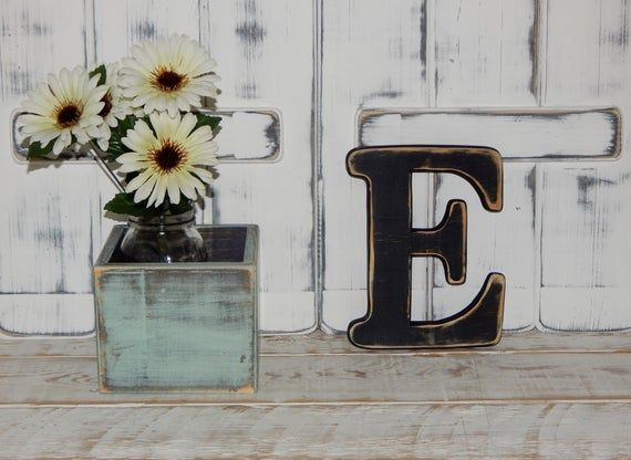 Wooden Letter E Distressed Wood letters Made To order Any Letter 8 Tall Wall Letters #pictureplacemeant