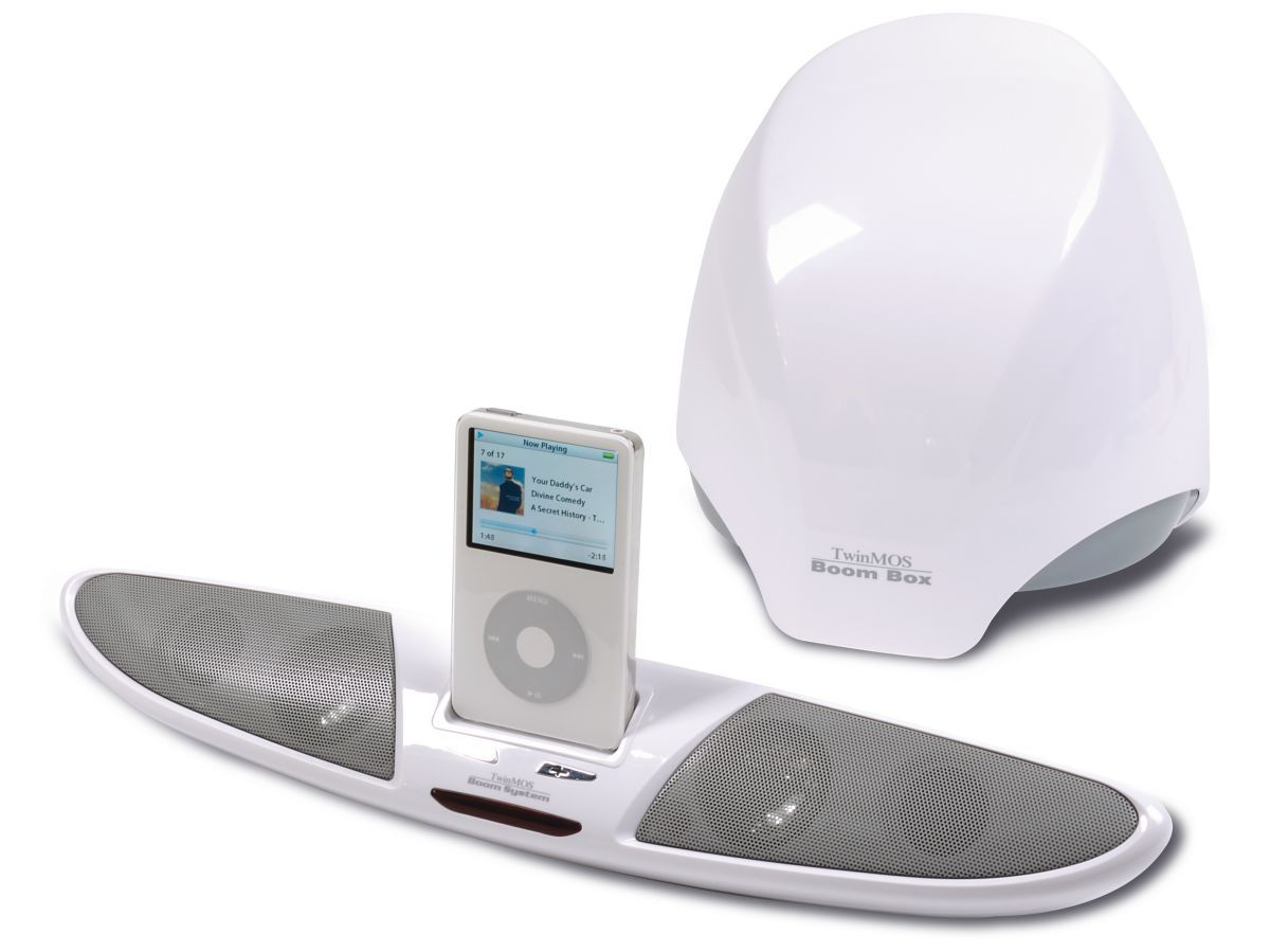 TwinMOS BooM1 2.1 audio system review | These great-value iPod speakers sport a minimalist look. Although its long, bicycle handlebar shaped dock can be hooked-up to an included (and rather stylish) subwoofer, it doesn't quite create the mess of cabling that blights similar efforts. Reviews | TechRadar