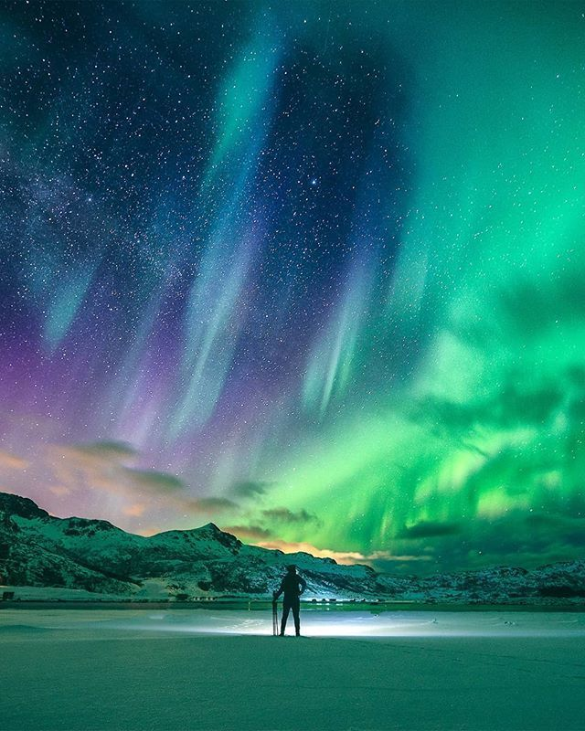 Spectacular Light Show Of Northern Lights In Norwa