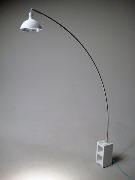 DIY arc lamp - cinder block, work lamp, conduit and paint ...
