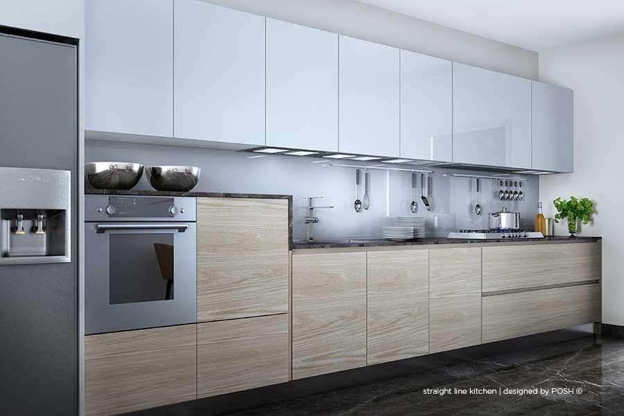 Posh design bangalore contemporary kitchen modular for Straight line kitchen designs