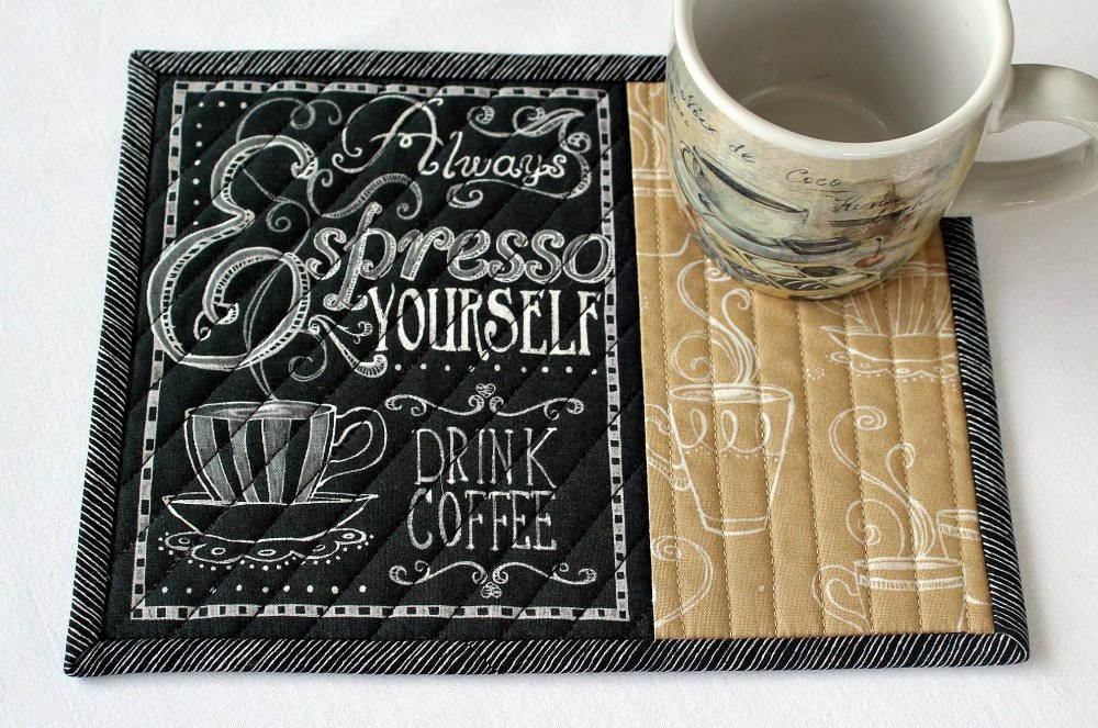 Coffee Mug Rug Quilted Espresso Coffee Quote Snack Mat Black Tan With Words Candle Mat Quiltsy Handmade Mug Rug Mug Rugs Handmade Table Runner