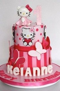 Brilliant 1St Birthday Cake Ideas For Girls Hello Kitty With Images Birthday Cards Printable Benkemecafe Filternl