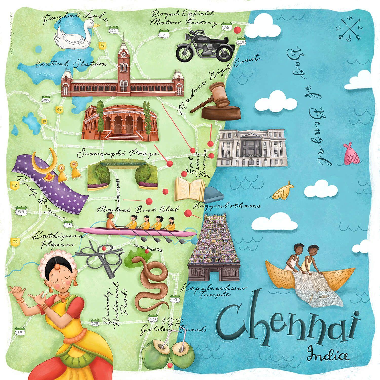 Mapsy Aishwarya Vohra Chennai, India Map Print Art