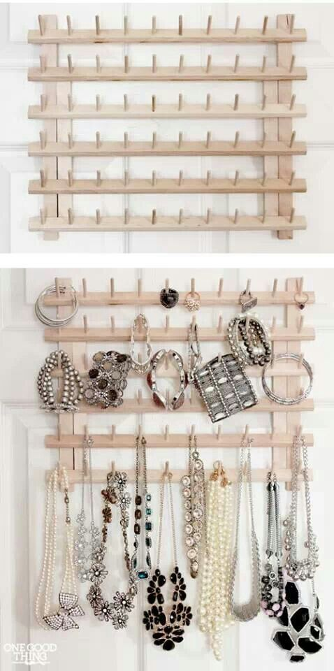 thread rack recycle stuff pinterest rangement bijoux bijoux and rangement. Black Bedroom Furniture Sets. Home Design Ideas