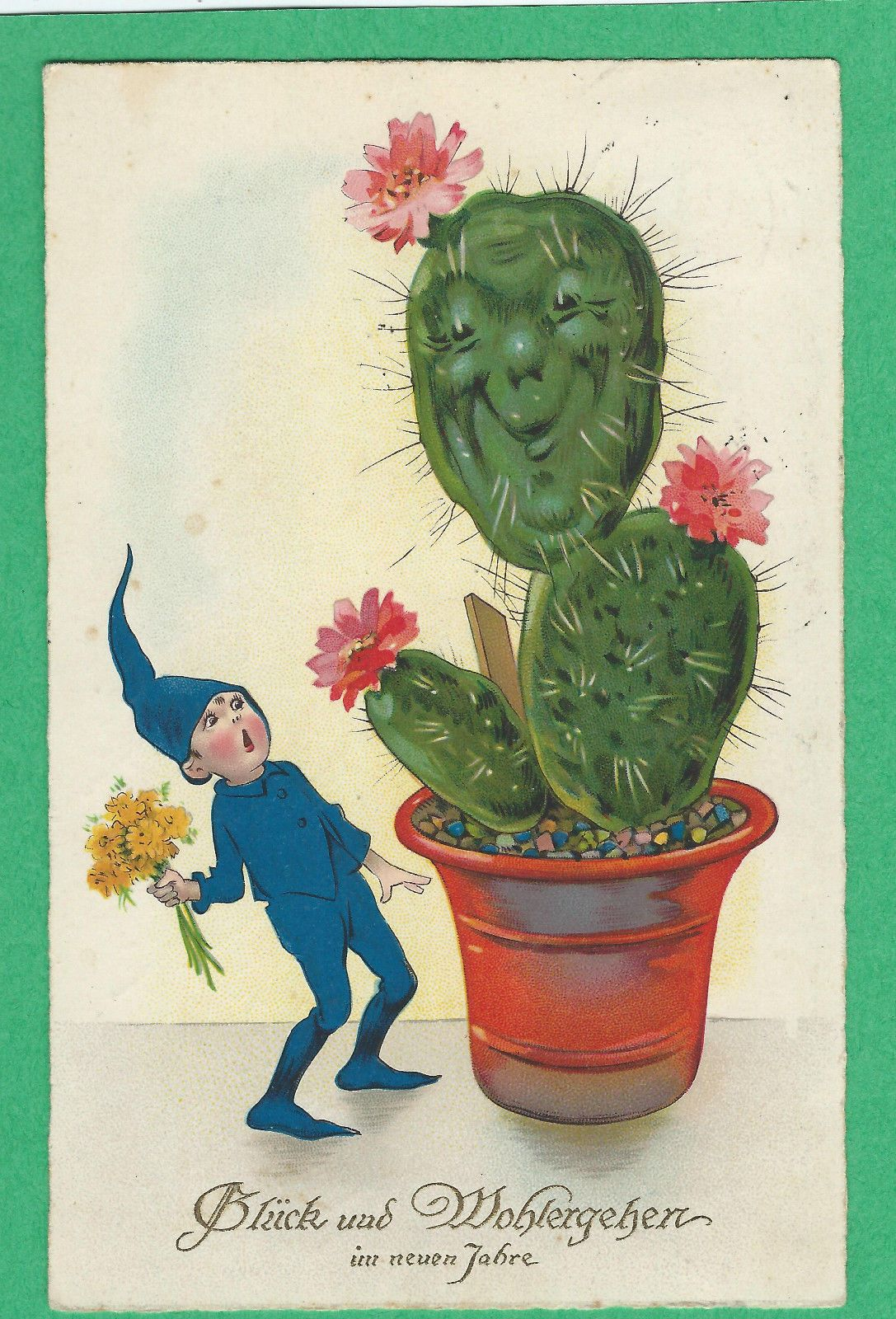 Elf Surprised By Smiling Cactus Weird Vintage
