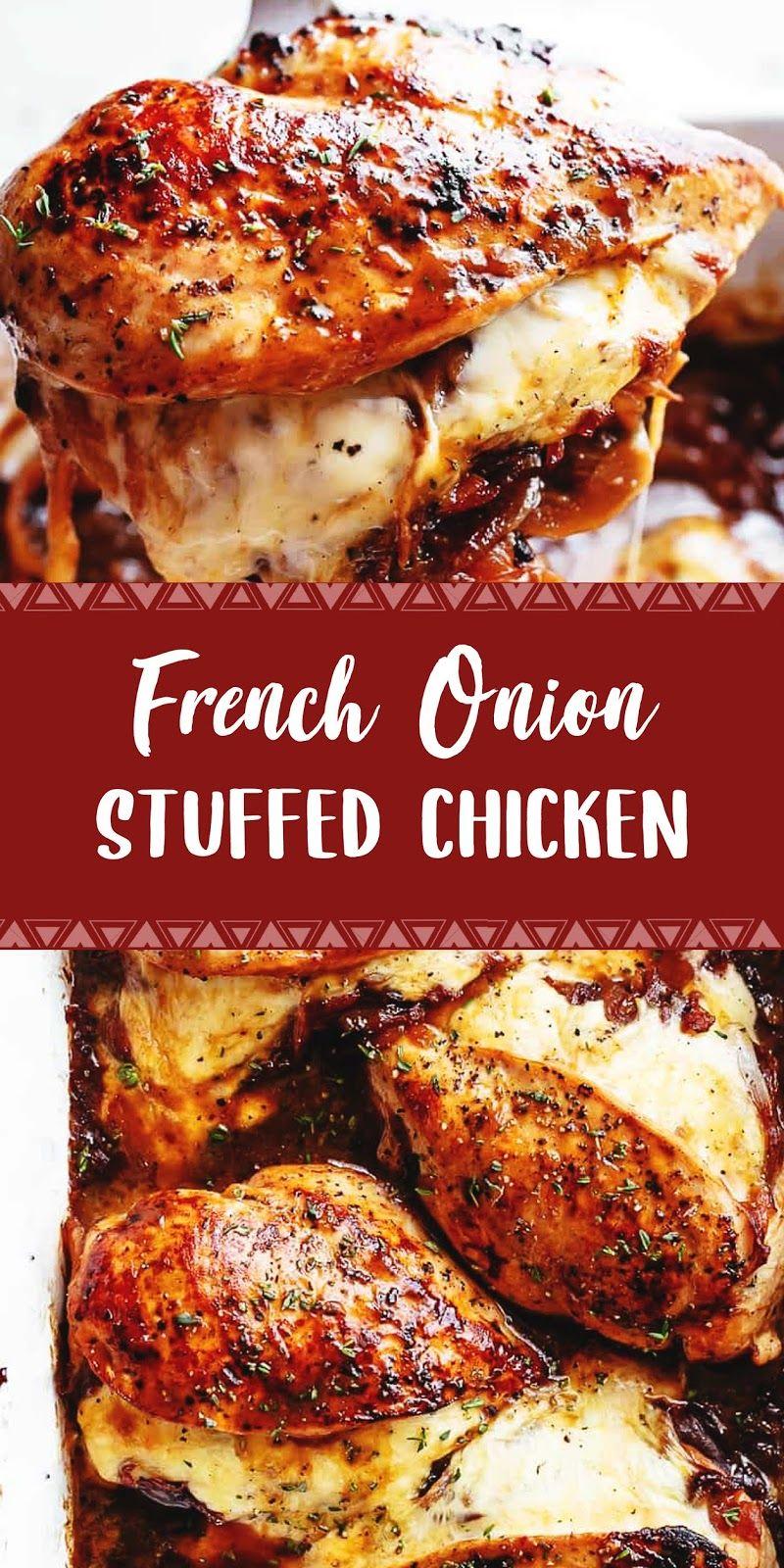 French Onion Stuffed Chicken Best Recipe 005 Resep Ayam Resep Ayam Sehat Makanan