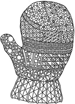 Mitten Winter Zentangle Coloring Page Coloring Pages Color