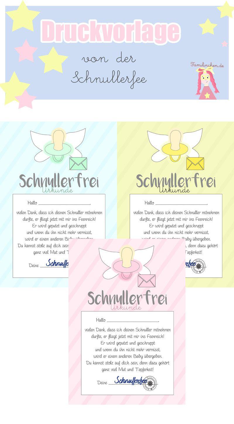 Schnullerfee Brief Vorlage zum Ausdrucken | Pinterest | Urkunde ...