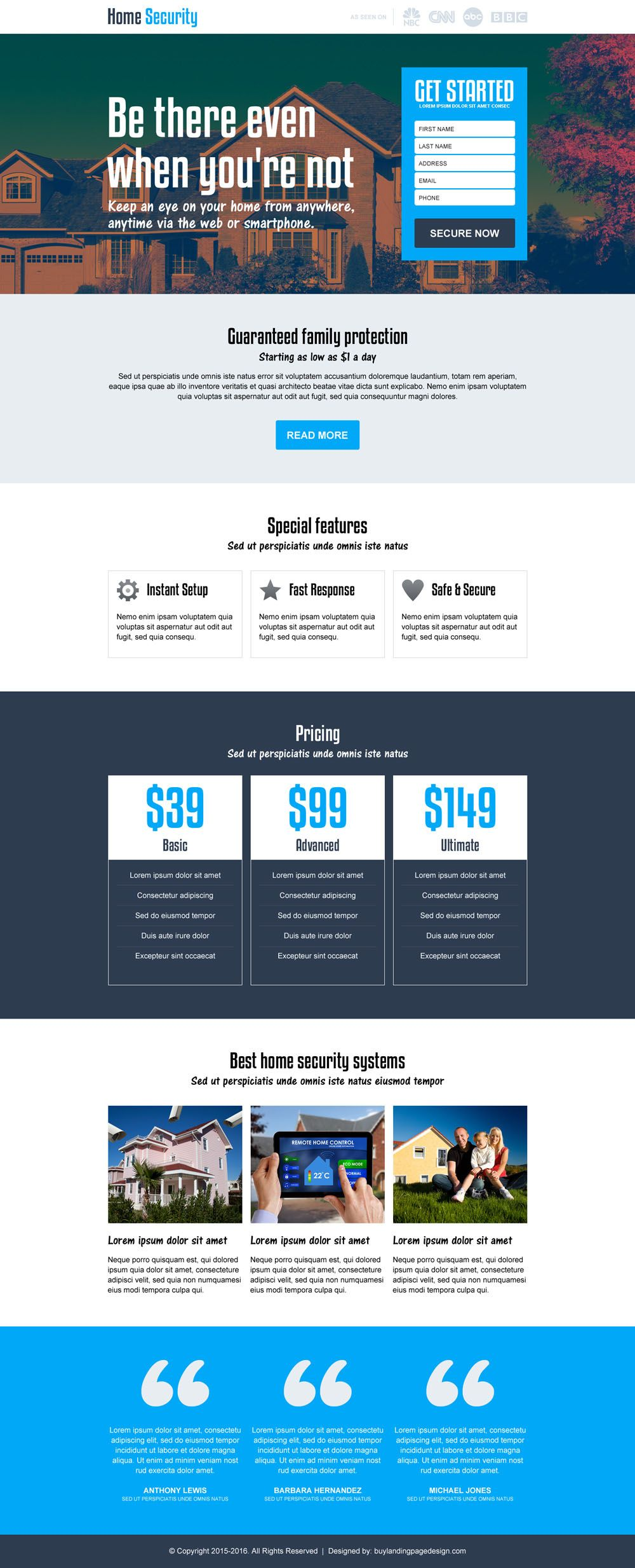 Best Home Security Services Responsive Landing Page Design Landing Page Design Landing Page Home Security