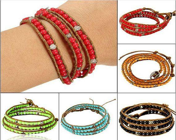 Women Bracelet Bead Leather Cord Wrap Braided