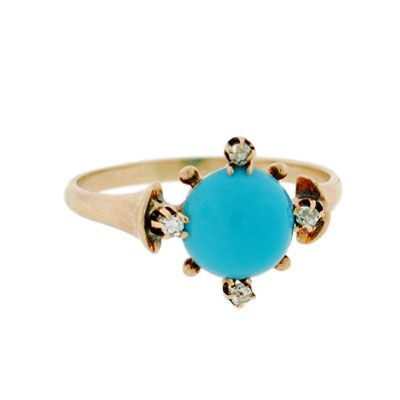 A Brandt and Son - Victorian 14kt Persian Turquoise & Diamond Ring