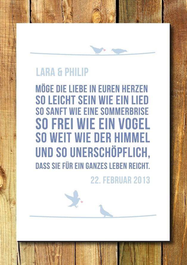 Druck Wandbild Print Segenswunsch Hochzeit Segenswunsche