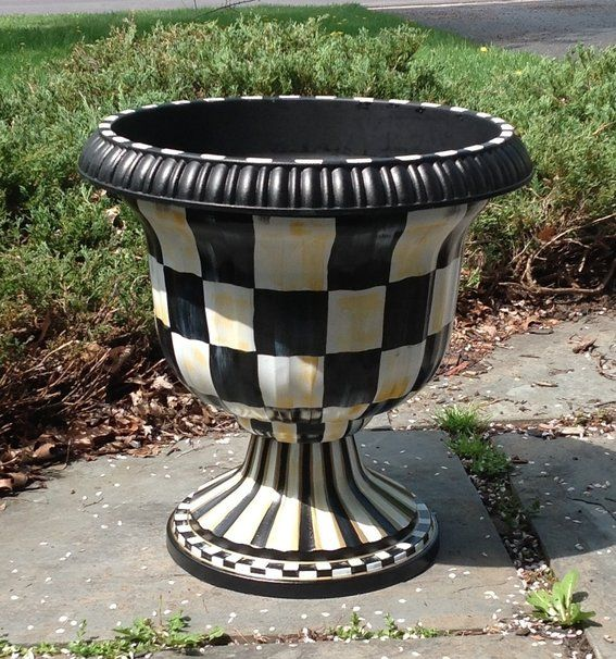 Large Black Urn Planter Checkers