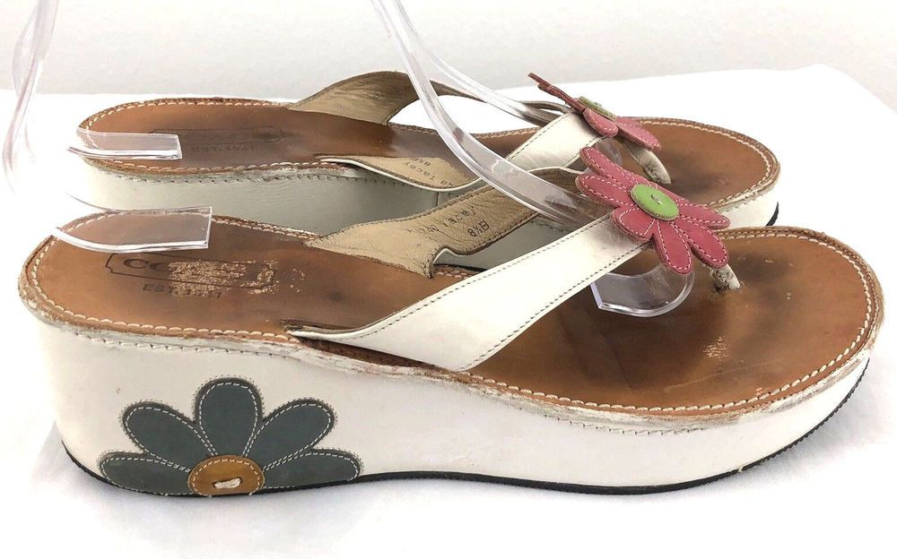 bed6706ae0d5 Coach White Wedge Thong Sandals 8.5B Leather Tacey Flower Applique Made In  Italy  coach  wedge  Casual