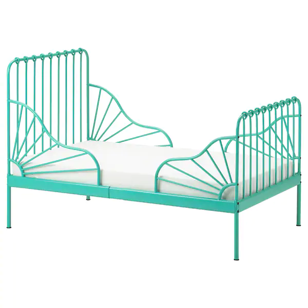 Minnen Ext Bed Frame With Slatted Bed Base Turquoise 38 1 4x74 3 4 Ikea In 2020 Bed Base Bed Frame Bed Lights