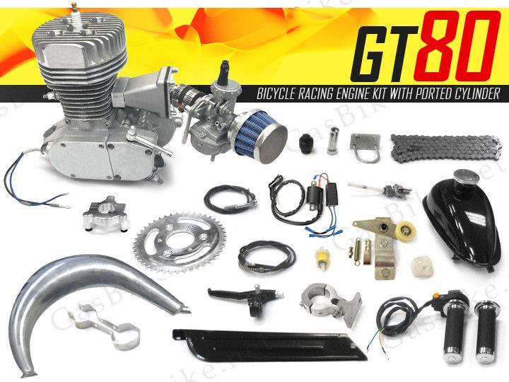 GT80 Bicycle Racing Engine Kit 66cc - 4 5 HP with Ported Cylinder