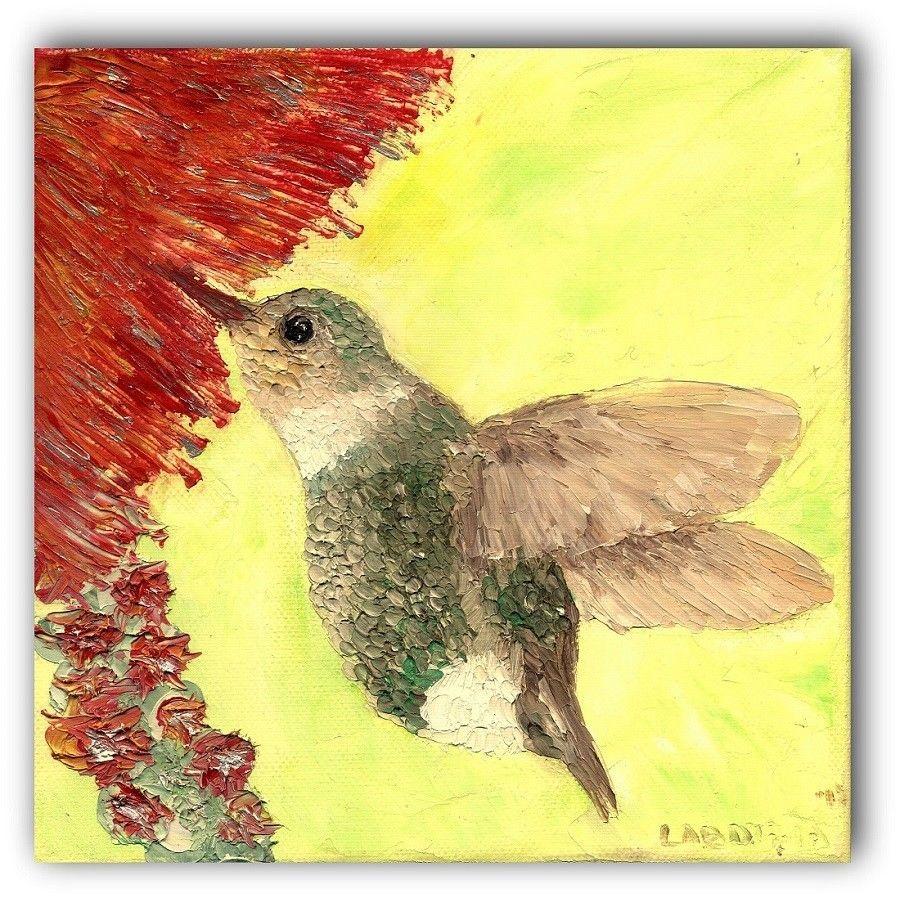 Bird Oil Painting Artwork Wall Art Canvas Hummingbird Home Decor Gift Ideas Room