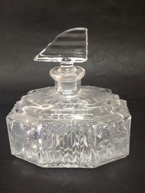 ART Deco Glass Clear Glass Perfume Decanter Bottle Retro Vintage | eBay