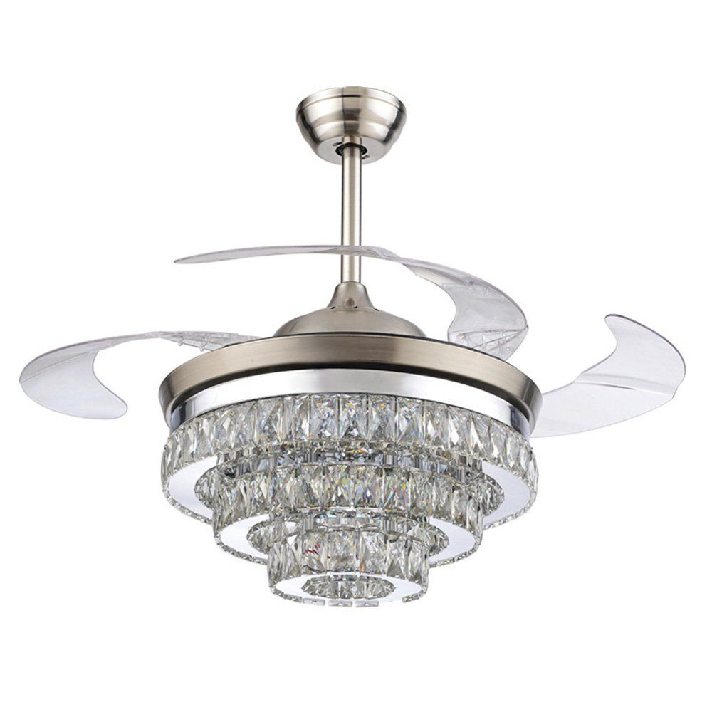 Rs Lighting European Crystal Ceiling Fan Light Kit 42 Inch With Retractable Four Blades And Remote Control Silent Fan Chandelier For Indoor Living Bedroom Chrom Ceiling Fan With Light Chandelier Fan Ceiling Fan