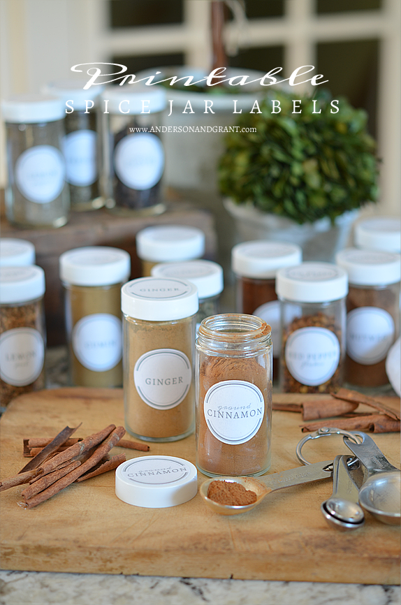 free printable spice jar labels to organize your kitchen anderson grant spice jars spice. Black Bedroom Furniture Sets. Home Design Ideas