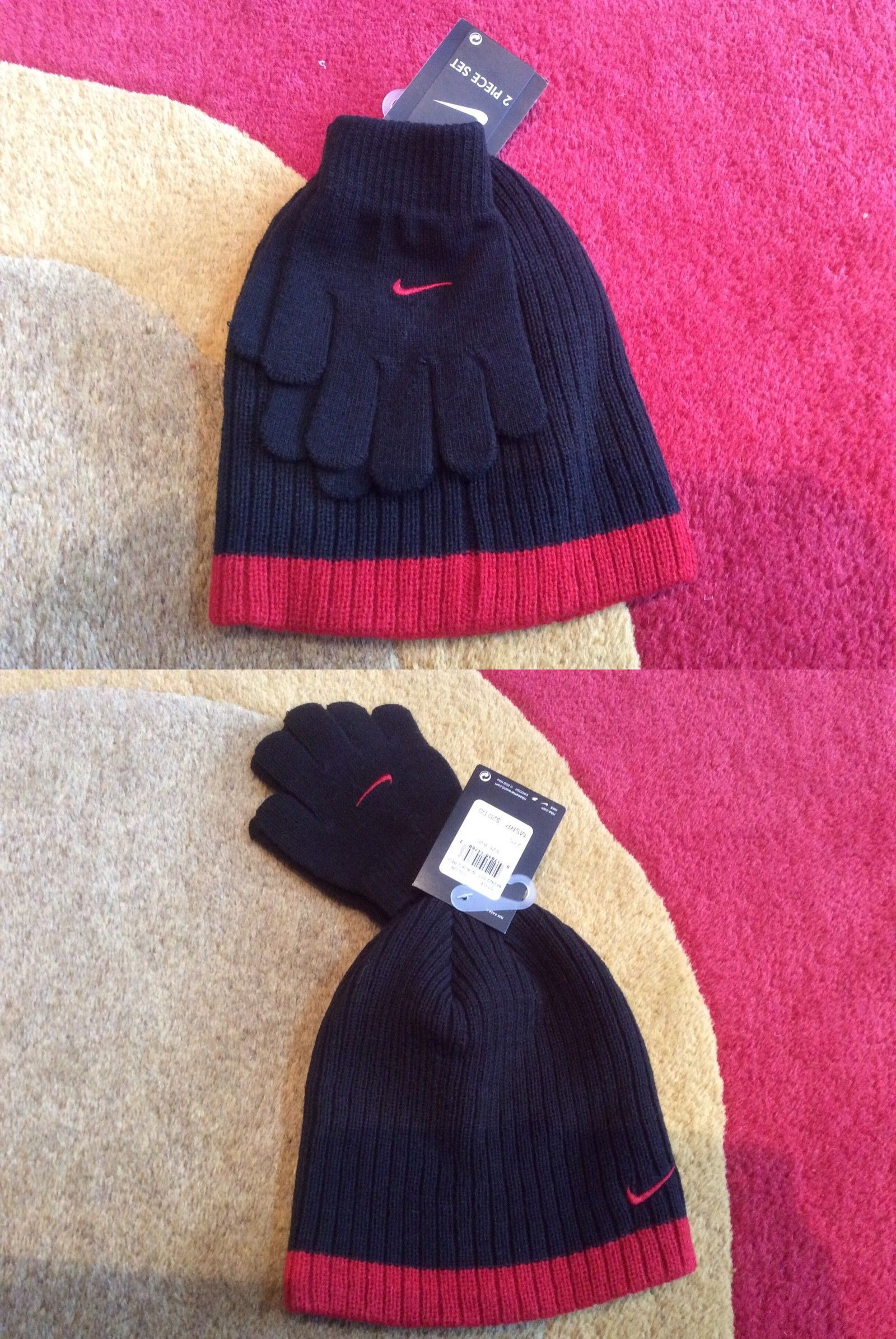 59b3af9e838 Hats 57884  Nwt Boy S Youth Nike Beanie And Knit Gloves Set —Black Red -   BUY IT NOW ONLY   14.99 on  eBay  youth  beanie  gloves