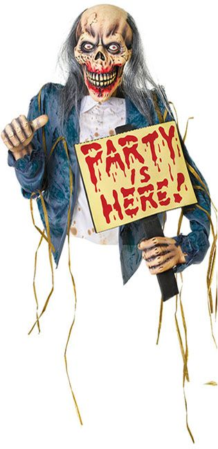 Party Packs | 'Party is Here' Zombie with Sign Hanging Decoration - 61cm