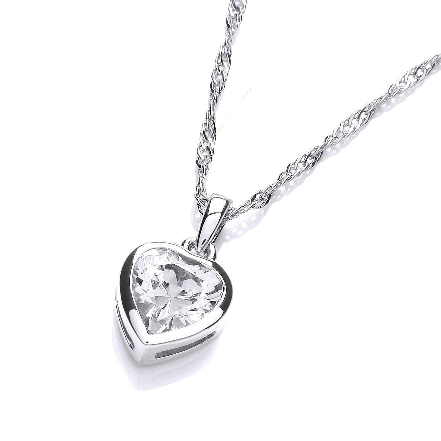 Rhodium plated simple heart pendant heart pinterest pendants timeless and elegant this simple pendant hand set with a flawless heart shaped cubic zirconia suspended on an exquisite diamond cut twisted curb chain aloadofball Choice Image
