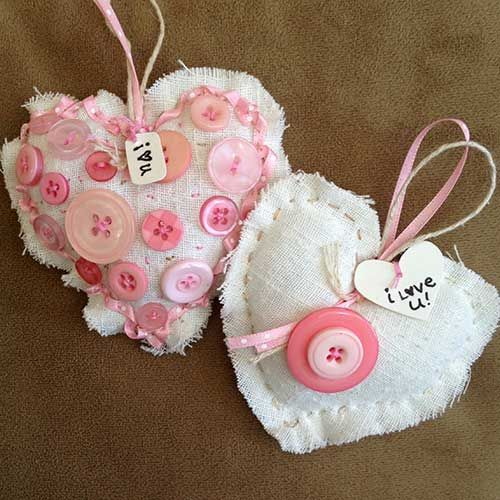 Pink Fabric Hearts with Buttons - Valentine decoration   Fabric ...