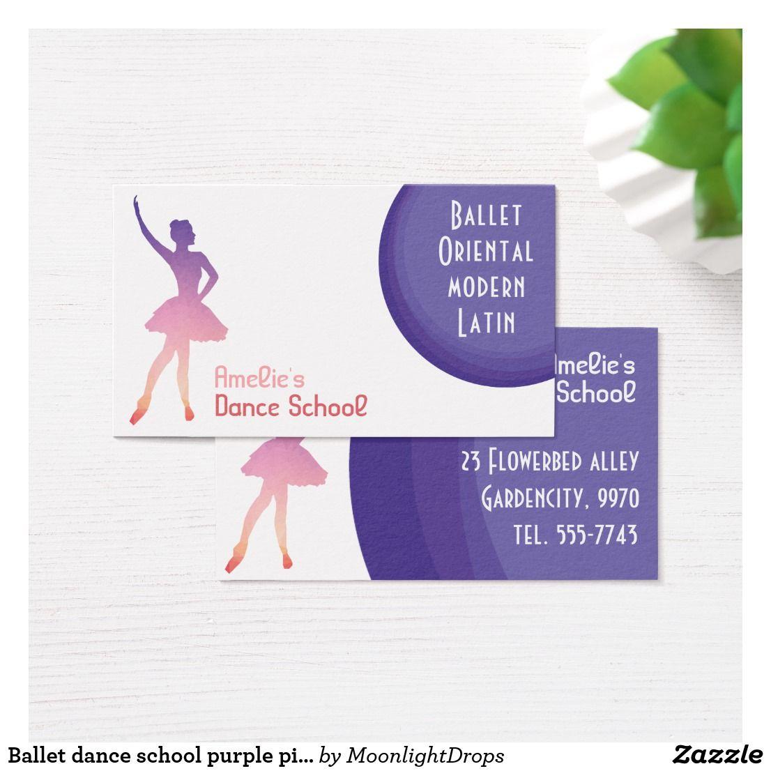Ballet Dance School Purple Pink Business Card Zazzle Com In 2020 Pink Business Card Dance School Business Card Design