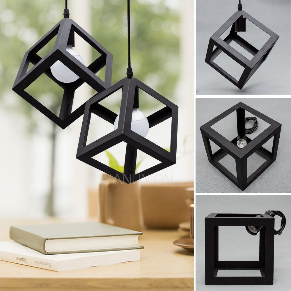 1xvintage industrial cube cage metal pendant light chandelier 1xvintage industrial cube cage black metal pendant light loft ceiling lamp shade aloadofball Gallery