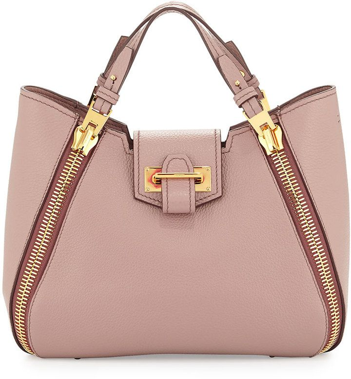 TOM FORD Sedgwick Mini Double-Zip Leather Tote Bag, Blush Nude