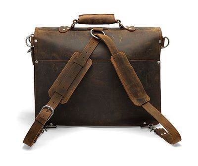18'' Laptop Messenger Bag - Dark Brown Vintage Style Double ...
