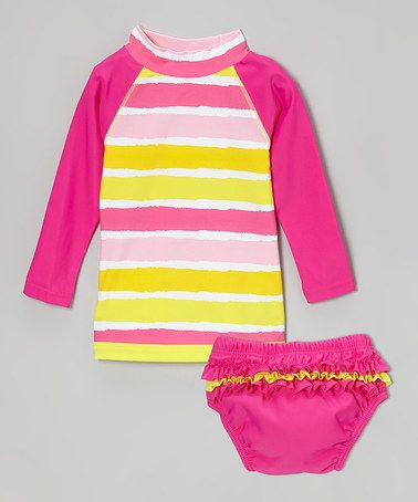 Another great find on #zulily! Pink & Yellow Stripe Rash Guard Set - Infant #zulilyfinds