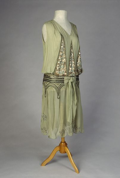 Francis Strand, evening dress, circa 1928 silk georgette, embroidered with beads, sequins and gold thread