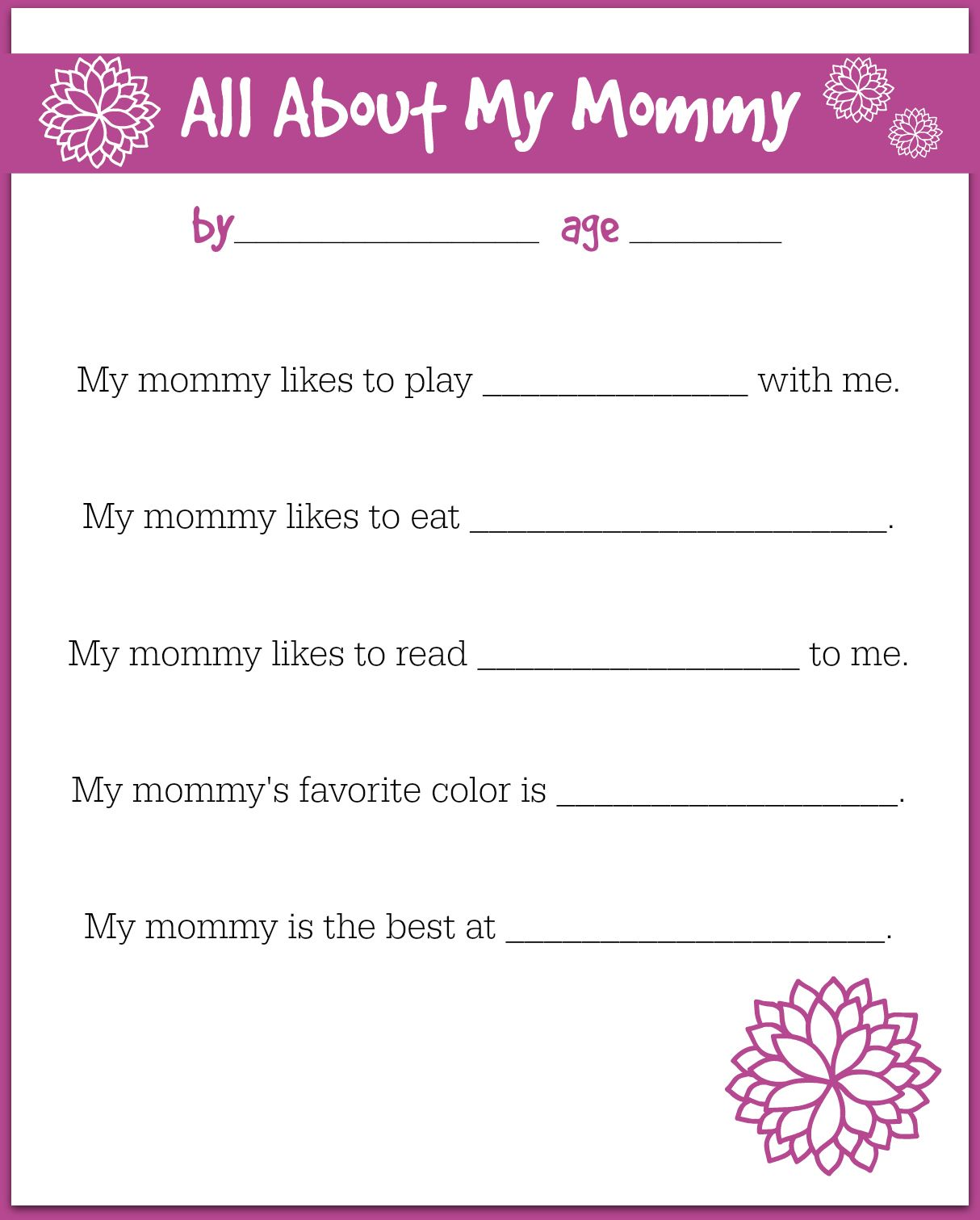 Free Printable Mother S Day Interview For Kids