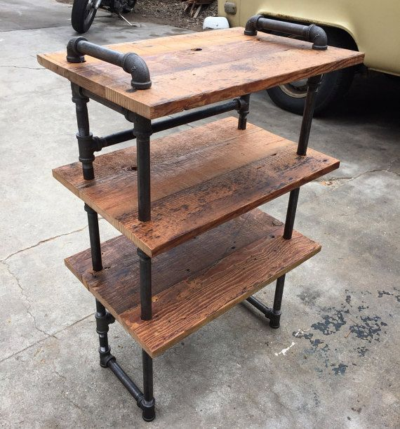 Industrial Style Steel Pipe Pine Wood Tables Desks A: Small Black Iron Pipe And Reclaimed Wood By