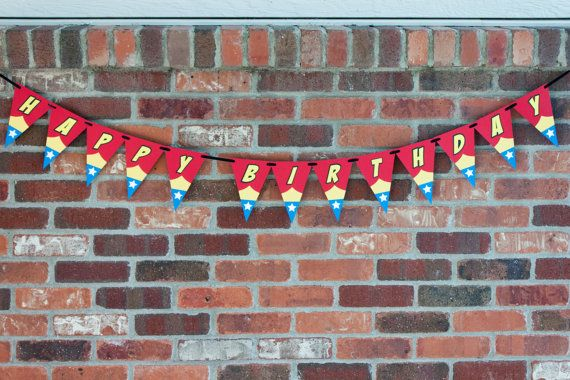 Wonder Woman Inspired Party Banner, Wonder Woman Birthday Banner - Rocky Mountain Mama on Etsy