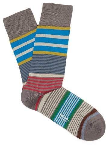 9fbe3735ac0105 Paul Smith Rak Striped Cotton Blend Socks - Mens - Grey | Products ...