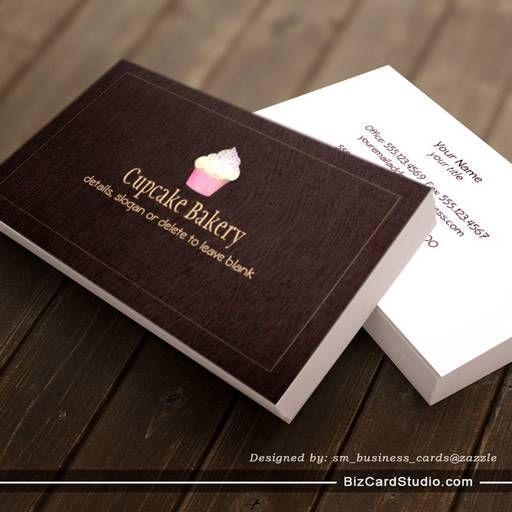 Cupcake bakery business card faux brown linen 2 bakery business cupcake bakery business card faux brown linen 2 flashek Images