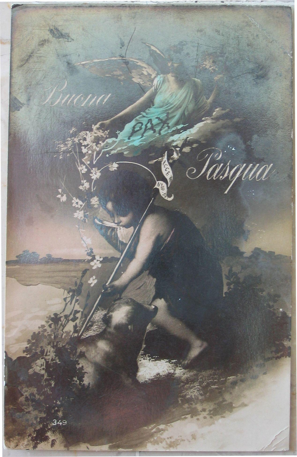 1919 Angeli  Buona Pasqua made in Italy cartolina con francobollo Italia uno da 10 e uno da 5 centesimi