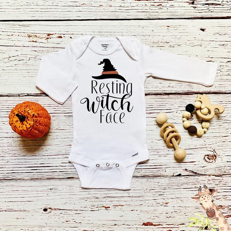 Halloween Resting Witch Face Onesies unisex Funny Baby Onesies Infant Newborn