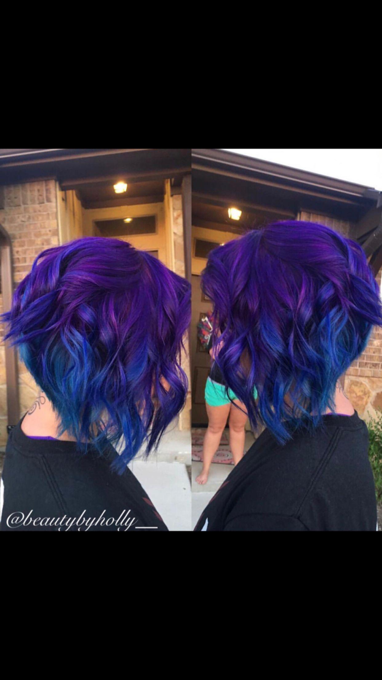 Blue And Purple Ombre Blue Hair Purple Hair Blue Bob Purple Bob Short Haircut Short Hairstyles Hair Color Crazy Pastel Hair Short Purple Ombre Hair