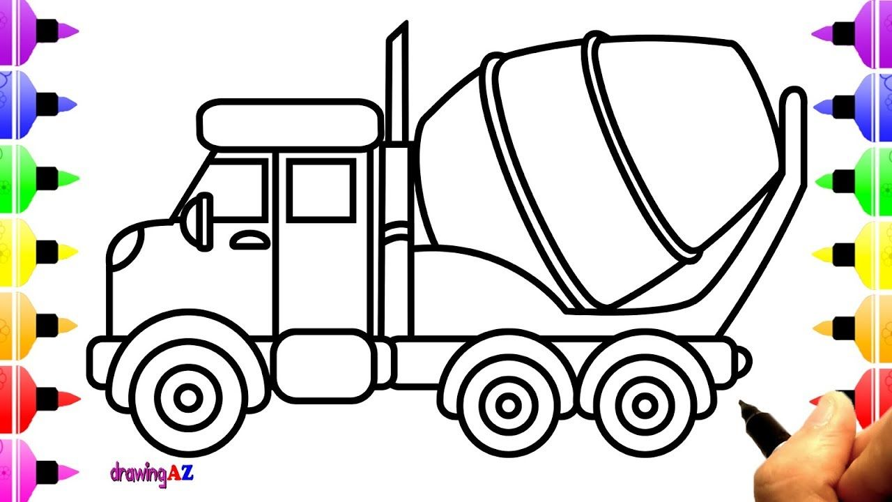 How To Draw Mixer Truck For Kids Truck Coloring Page For Children
