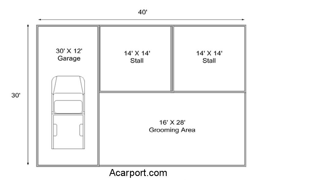 2 stall horse plans with garage | Barn plans, Horse barn ...