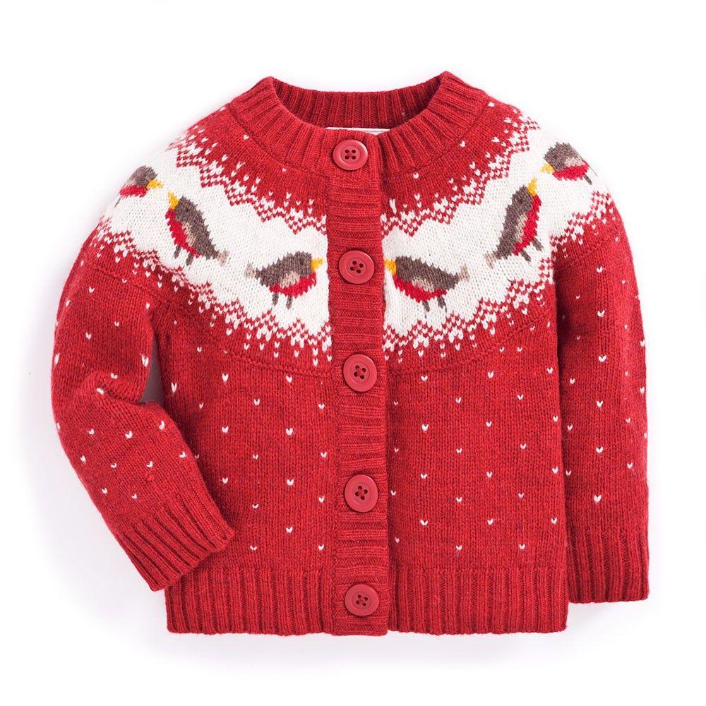 Jojo Christmas Sweater.Girls Robin Fair Isle Cardigan Gift Ideas Fair Isle